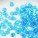 Sequins, blue, Diameter 6mm, 400 pieces, 5g, Faceted Discs, Sequins are shiny, [CZP492]